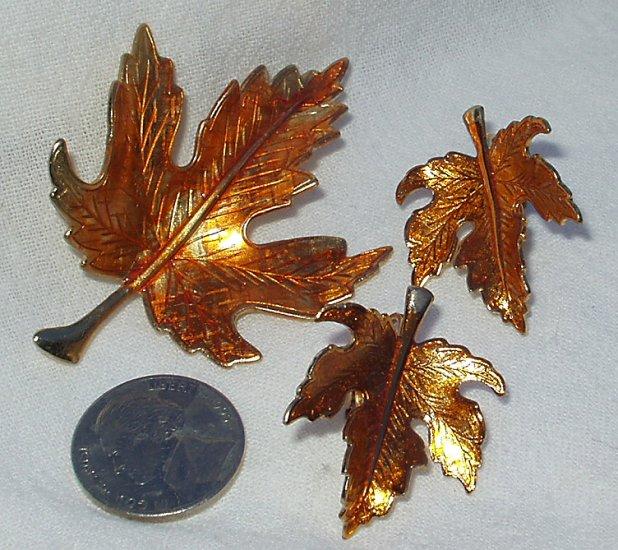 Vintage 1960's Enamel Maple Leaf Demi Parure Brooch Earring Set