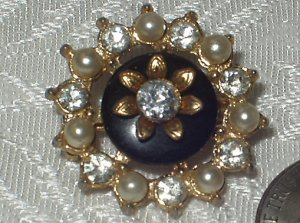 Vintage 1930's Rhinestone & Faux Pearl Flower Scatter Pin Brooch
