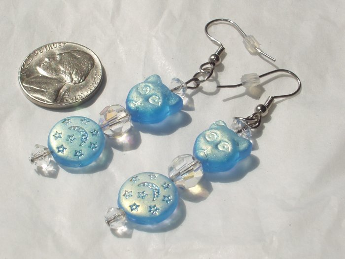 Artisan Iridescent Blue Glass Stiletto Cat Earrings Handmade OOAK