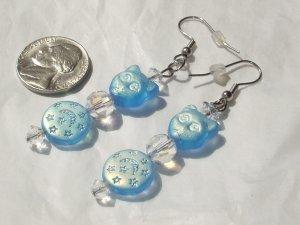 Artisan Iridescent Blue Glass Stiletto Cat Earrings Handmade OOAK