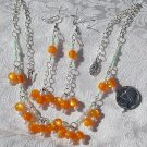 OOAK Handmade Artisan Tangerine Lucite  Czech Glass Faux Pearl Demi Paurure Necklace Earrings Set