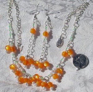 OOAK Handmade Artisan Tangerine Lucite  Czech Glass Faux Pearl Demi Paurure Necklace Earrings Set