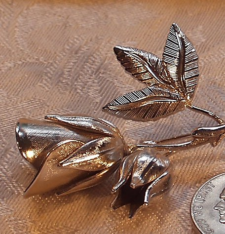 Beautiful Vintage Double Rosebud Brooch Pin 1950's