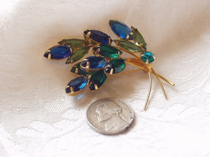 1950s Vintage Blue Green Cobalt Rinestone Leaf Spray Brooch