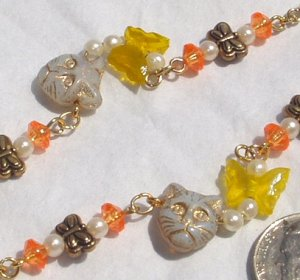 Yellow Glass Fish Glass Butterfly Cat Cats Dangle OOAK Artisan Earrings