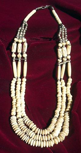 Vintage Primative Hand Carved Bone Multi Strand Necklace