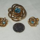 Vintage 1950'sAtomic Age Spiral Aqua Rhinestone Earring  Brooch Set Demi Parure