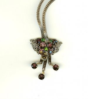 Bolo Style Necklace - Amethyst, Peridot RS - Book Piece