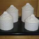 4 Piece Canister Set Basket Daisy Design Ceramic Bisque Ready To Paint