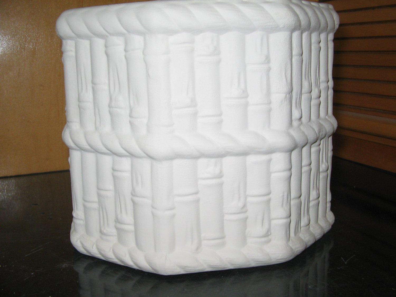 Bamboo Octogon Planter Flower Pot Ready To Paint U Paint Ceramics