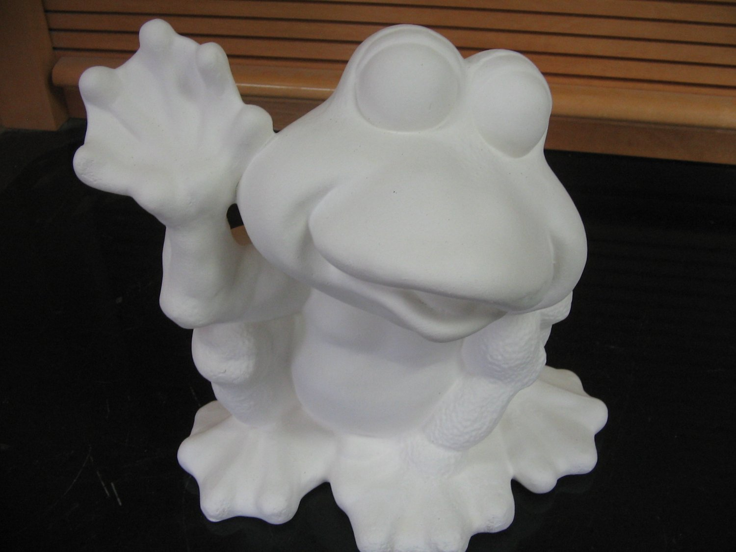 Frog Waving Ceramic Bisque Ready To Paint Ceramics U Paint