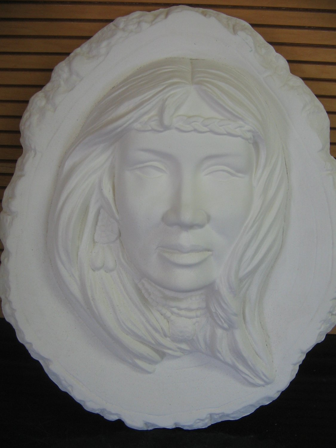 Ready To Paint Indian Maiden Wall Plaque Ceramic Bisque U Paint