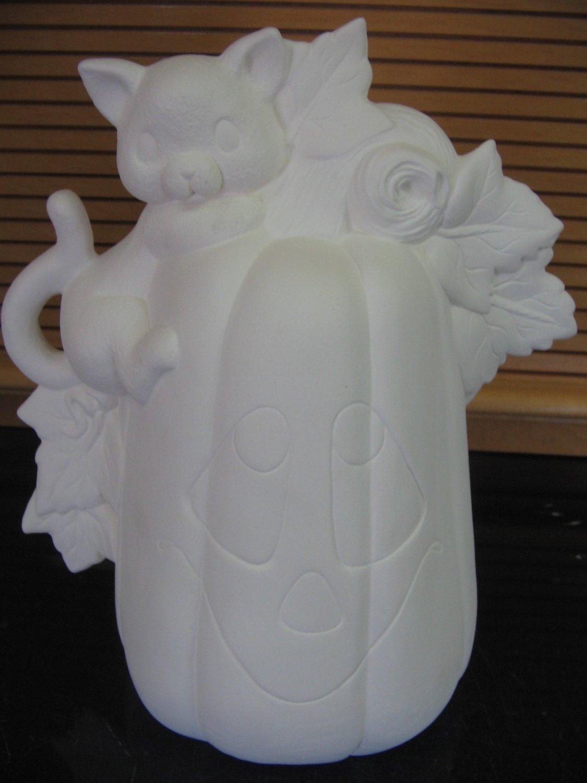 Pumpkin With Climbing Cat U Paint Ceramic Bisque Ready To Paint Ceramics