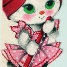 Vintage Greeting Card Kitten Housewife Pink