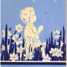 Vintage Greeting Card Child Praying Garden Flowers