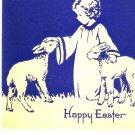 Vintage Greeting Card Child Baby Deer Lamb