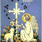 Vintage Greeting Card Angel Baby Lamb Cross
