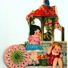 Vintage Valentine Card Boy Girl Spinner Mechanical
