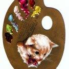 Antique Greeting Card Kitten Artist Palette