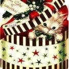 Kitten Surprise Gift Box Vintage Christmas Card Image