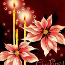 Poinsettias Candles Vintage Christmas Card Image