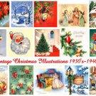 Vintage Christmas Card Images 15 Designs Digital Sheet