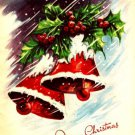 Pretty Bells Ice Snow Holly Vintage Christmas Card Image