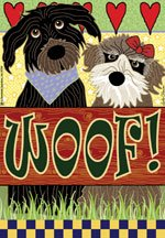 Woof Dogs pets puppies Garden FLAG 12 x 18 Free Shipping