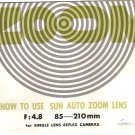 SUN Auto Zoom original MANUAL for SLR camera Lens Vintage FREE SHIPPING