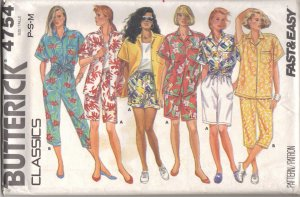 Butterick 4754 Sewing pattern Hawaii Summer Shirt short Pants FREE SHIPPING