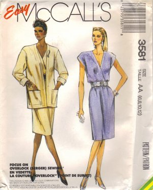 DRESS & Jacket Sewing pattern 6 - 14 McCalls 3581 UNCUT Free Shipping