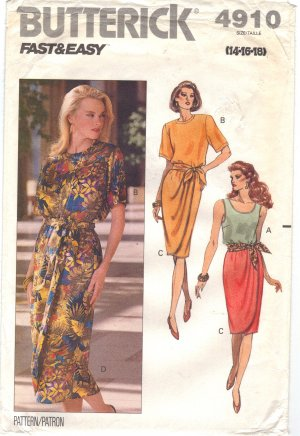 EASY sewing pattern Tank & pullover tops mock wrap skirt 14 16 18 Butterick 4910 FREE SHIPPING