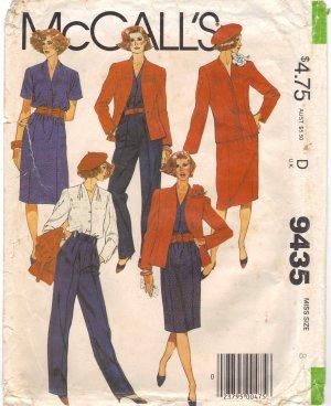 Jacket Blouse, Skirt, Pants McCalls 9435 size 8 Vintage Sewing Pattern FREE SHIPPING