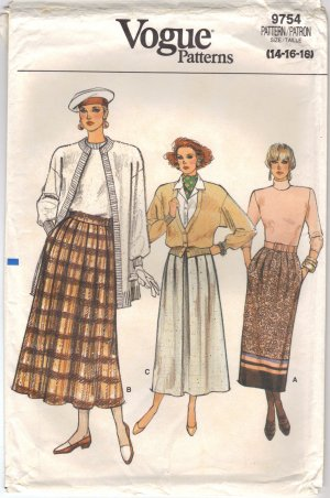 Vintage Vogue 9754 Skirt sewing pattern size 14 16 18 FREE SHIPPING