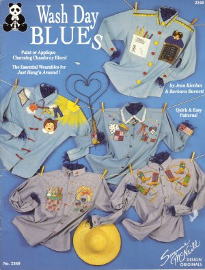 Country Wash Day Blues Fabric Painting Pattern or Applique Chambray FREE SHIPPING