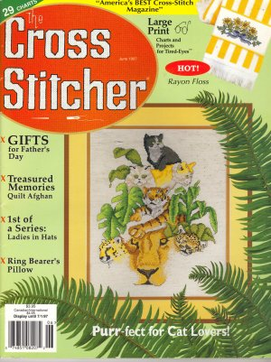 Cross Stitcher LARGE PRINT Mag 06 1997 Cat Lovers Fathers Day