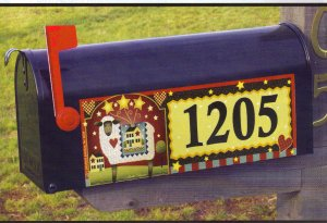Magnetic Door or Mailbox Sign Country Sheep with numbers