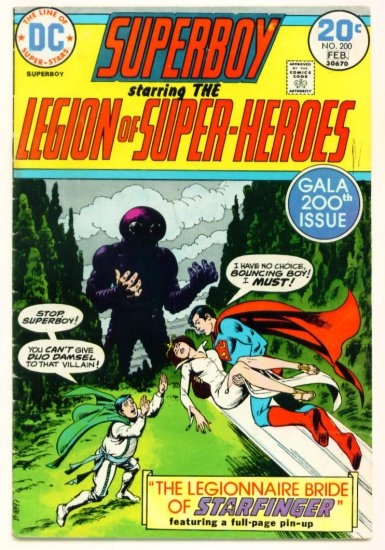 SUPERBOY #200 DC Comics 1974 LEGION of SUPERHEROES