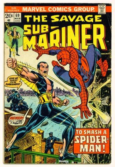 SUB-MARINER #69 Marvel Comics 1974 Spider-man