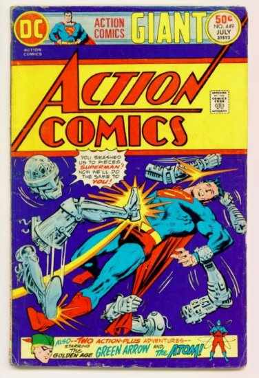 GIANT ACTION COMICS #449 DC 1975 The Atom Green Arrow