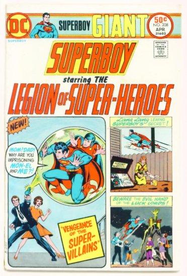 SUPERBOY #208 DC Comics 1975 GIANT Legion of Super-heroes