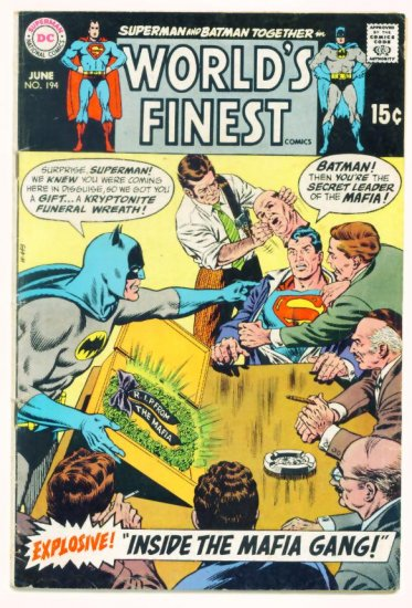 WORLDS FINEST #194 DC Comics 1970 Superman and Batman