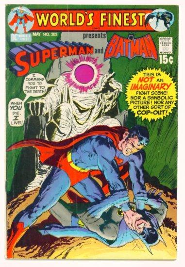 WORLDS FINEST #202 DC Comics 1971 Superman and Batman