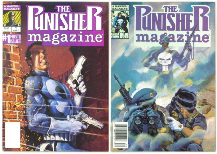 PUNISHER MAGAZINE #1 and #2 Marvel Comics 1989 Lot of 2