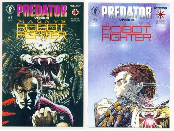 PREDATOR VS MAGNUS ROBOT FIGHTER #1 and #2 Valiant Comics FULL RUN
