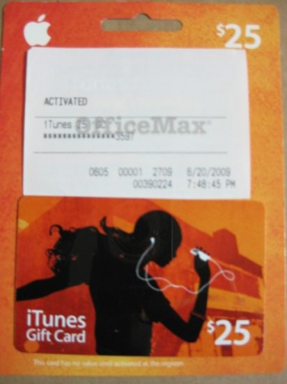 $25 Apple iTunes US Store Gift Card for iPod iPhone