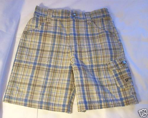 BOYS SIZE5 HEALTHTEX BLUE & TAN PLAID SHORTS VERY NICE