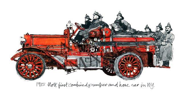 Antique Fire Apparatus Print - 1915 Mott