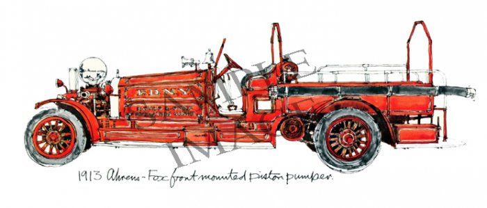 Antique Fire Apparatus Print-1913 Ahrens