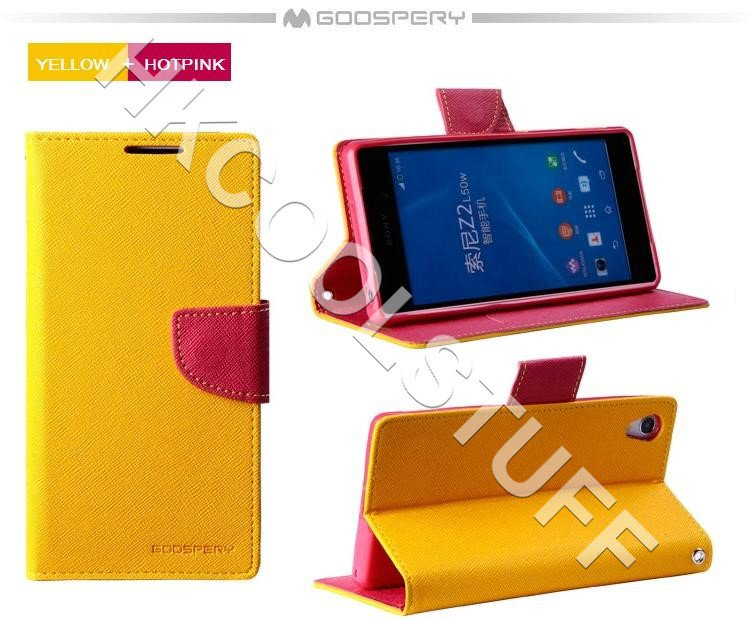 Genuine Mercury Goospery Fancy Diary Wallet Case Cover for Sony Xperia Z2 Yellow+Hotpink
